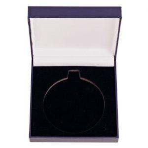 Classic Leatherette Medal Box Blue 90x90mm