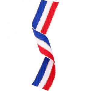 Medal Ribbon Red White & Blue With Gold Thread 395x22mm