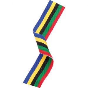 Medal Ribbon Olympic Colours 395x22mm