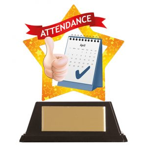 Mini-Star Attendance Acrylic Plaque 100mm