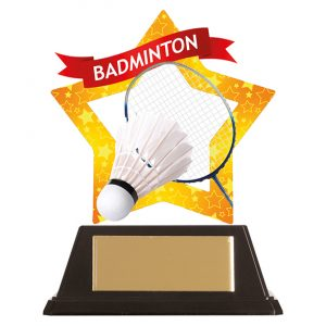 Mini-Star Badminton Acrylic Plaque 100mm