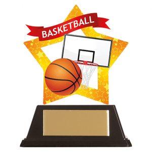 Mini-Star Basketball Acrylic Plaque 100mm