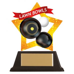 Mini-Star Lawn Bowls Acrylic Plaque 100mm
