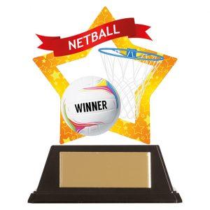 Mini-Star Netball Acrylic Plaque 100mm