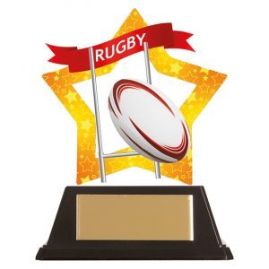 Mini-Star Rugby Acrylic Plaque 100mm