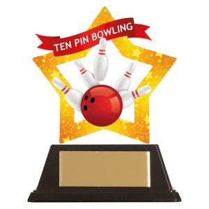 Mini-Star Tenpin Bowling Acrylic Plaque 100mm