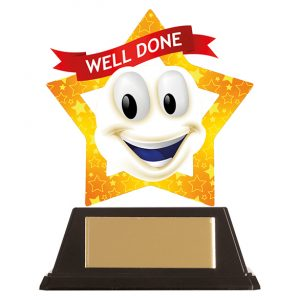Mini-Star Well Done Smile Acrylic Plaque 100mm