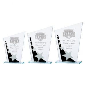 Mega Star Jade Glass Award Black & Silver