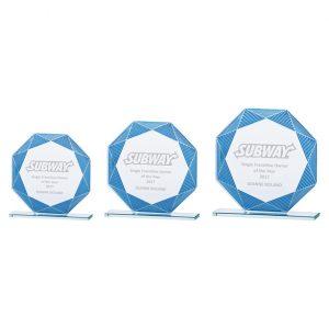 Jade Vortex Glass Award Blue & Silver