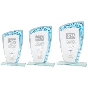 Galaxy Mirror Glass Award Blue & Silver