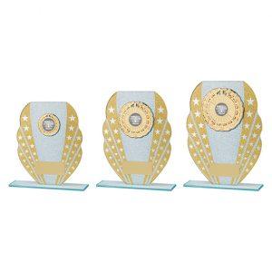 Tri-Star Glitter Glass Award Gold & Silver