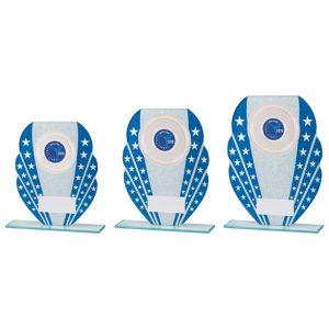 Tri-Star Glitter Glass Award Blue & Silver