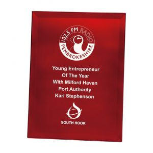 Ruby Red Mirrored Plaque