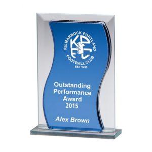 Azzuri Wave Mirror Glass Award Blue & Silver – 125mm
