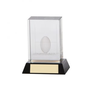 Conquest Rugby 3D Crystal Award 90mm