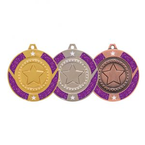 Glitter Star Medal Purple