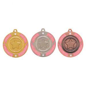 Glitter Star Medal Pink