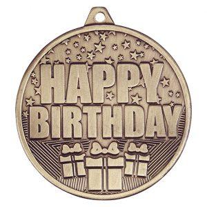 Cascade Happy Birthday Iron Medal Antique Gold 50mm