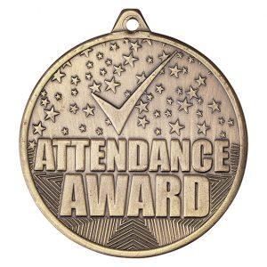 Cascade Attendance Iron Medal Antique Gold 50mm
