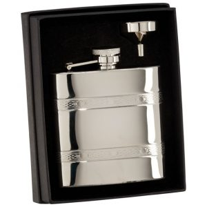 The Balefire Celtic Polished Steel Flask 115mm 6oz