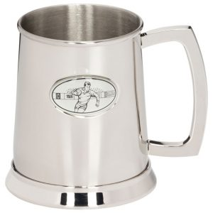 Stadia Rugby Polished Steel Tankard 125mm 1pt