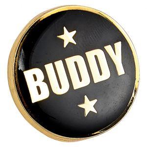 Heritage Buddy Pin Badge Black & Gold 20mm