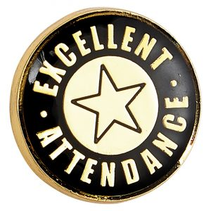 Heritage Excellent Attendance Pin Badge Black & Gold 20mm