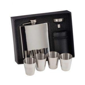 Aintree Polished Steel Flask & Cups 115mm 6oz