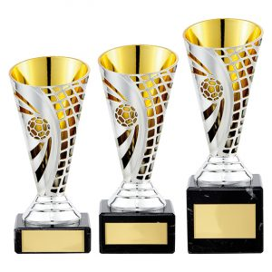 Defender Football Trophy Cup Silver & Gold
