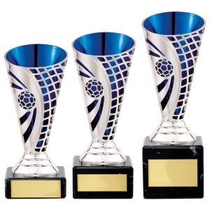 Defender Football Trophy Cup Silver & Blue