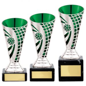 Defender Football Trophy Cup Silver & Green
