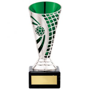 Defender Football Trophy Cup Silver & Green – 150mm