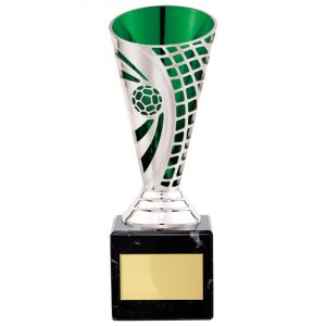 Defender Football Trophy Cup Silver & Green – 170mm