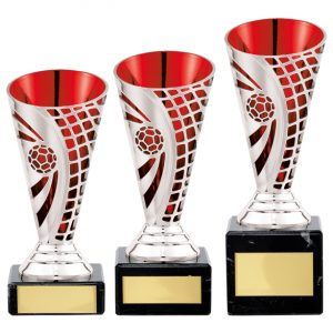 Defender Football Trophy Cup Silver & Red