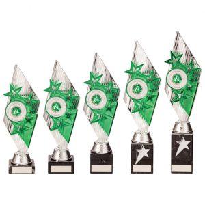 Pizzazz Plastic Trophy Silver & Green