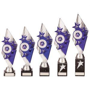 Pizzazz Plastic Trophy Silver & Purple