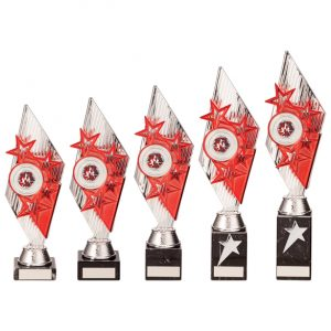 Pizzazz Plastic Trophy Silver & Red