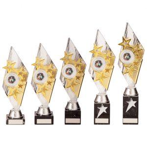 Pizzazz Plastic Trophy Silver & Gold