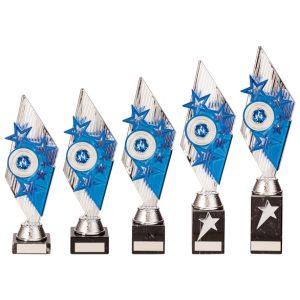 Pizzazz Plastic Trophy Silver & Blue