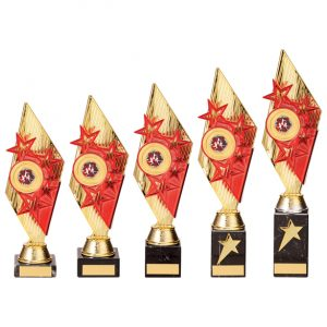 Pizzazz Plastic Trophy Gold & Red
