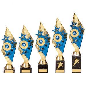 Pizzazz Plastic Trophy Gold & Blue
