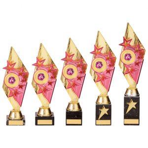 Pizzazz Plastic Trophy Gold & Pink