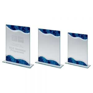 JADE GLASS RECTANGLE PLAQUE WITH SILVER/BLUE MARBLE DETAIL
