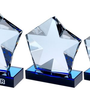 CLEAR GLASS PENTAGON PLAQUE WITH STAR DETAIL ON BLACK/BLUE BASE