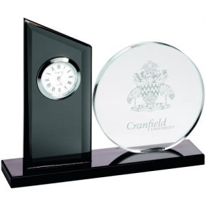 CLEAR/BLACK GLASS CLOCK AND ROUND PLAQUE – 5.25in