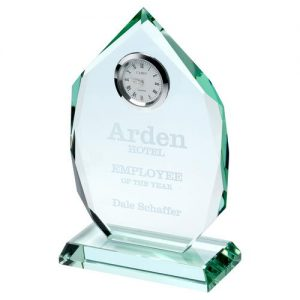 JADE GLASS DIAMOND PLAQUE WITH CLOCK – 6.5in