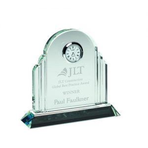 CLEAR GLASS ARCHED CLOCK – 5.25in