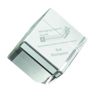 CLEAR GLASS CUBE PAPERWEIGHT IN BOX – 3.25in