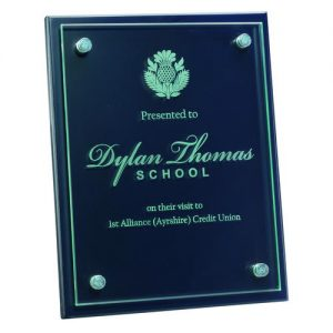 BLUE PLAQUE WITH 6MM GLASS FRONT – 8 x 10in