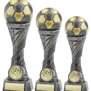 PEWTER/GOLD WEIGHTED PLASTIC FOOTBALL COLUMN TROPHY